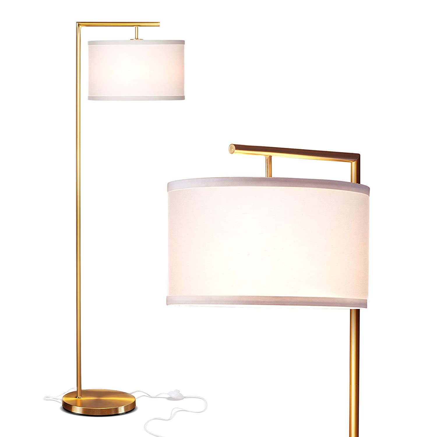 Brightech Montage Modern LED Floor Lamp - Living Room Light - Standing Pole with Hanging Drum Shade - Tall Downlight for Bedrooms, Family Rooms, Offices – Antique Brass