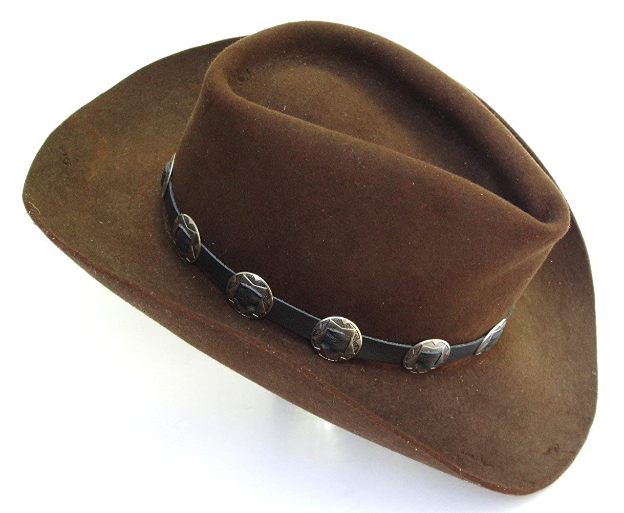 Western Hatband Hat Band Black Leather with 10 Antiqued Conchos NEW at  Amazon Men s Clothing store  Cowboy Hats daa5e4f48bb4