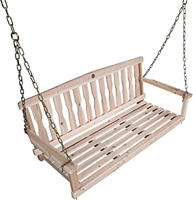 Songsen Outdoor Unfinished 4FT Wooden Porch Swing Chair Patio Deck Garden Furniture