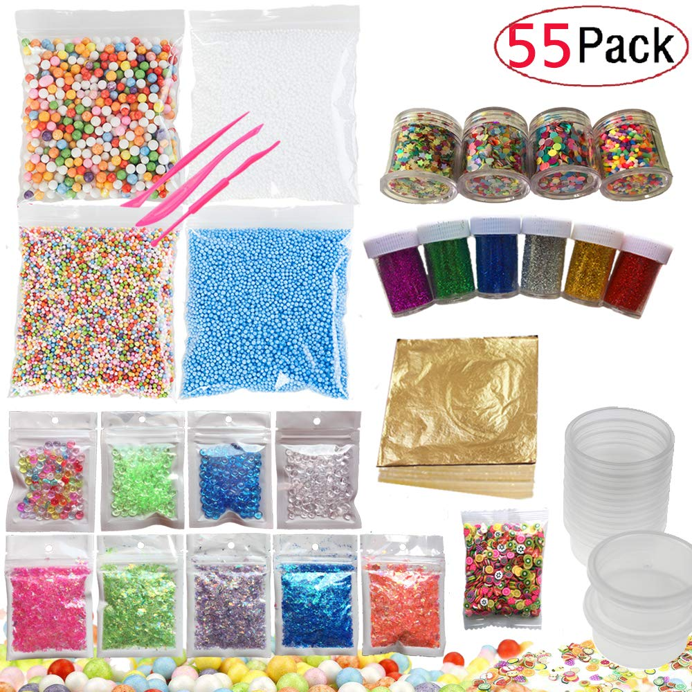 52 Pack Slime Making Kits Supplies,Gold Leaf,Foam Balls,Glitter Shake Jars,Fishbowl Beads,Fruit Slices,Fake Sprinkles,Glitter Sequins Accessories, Slime Tools (Slime Kits+8 Slime Containers) by GONGYIHONG