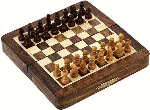 Juegos Juegos de ajedrez magnético de viaje y juguetes Juegos de mesa de madera y 18 cm x 18 cm: Amazon.es: Juguetes y juegos