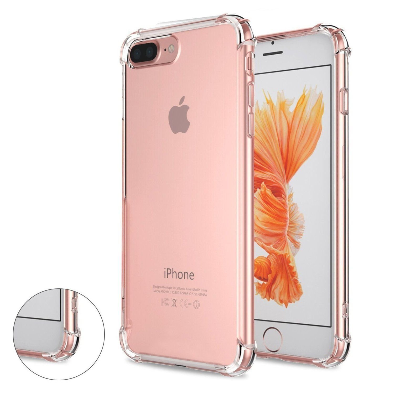 new concept 3c2e0 aa886 Speira iPhone 8 Plus/iPhone 7 Plus Transparent Case with Reinforced  Corners, [Anti-Discoloration] [No-Slip Grip] (Clear)