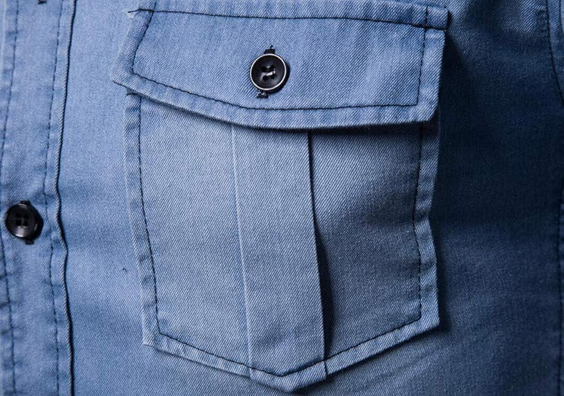 CRYYU Men Long Sleeve Denim Shirt 2 Pocket Button Down Dress Shirt