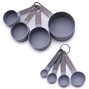 Country Kitchen 8 Piece Grey Nylon Measuring Cups and Measuring Spoon Set with Black Gun Metal Handles for Liquids and Solids