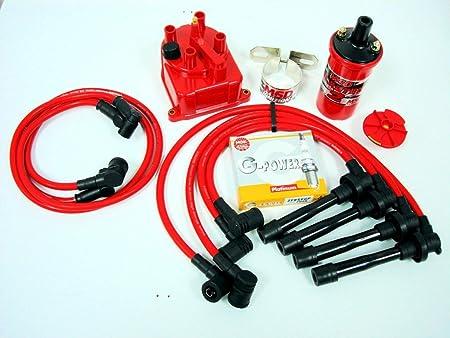 VMS Racing 92 - 01 Honda Prelude H22 MSD Bobina cables NGK tapones distribuidor Cap Kit: Amazon.es: Coche y moto
