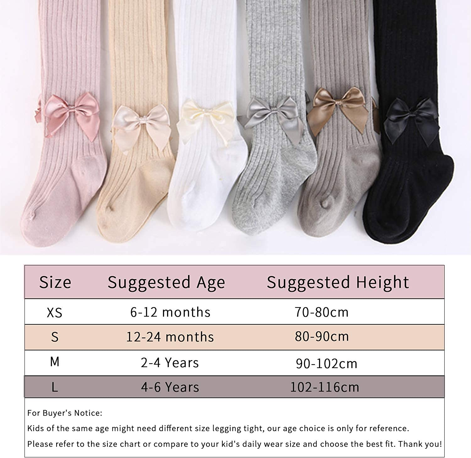 BOOPH Girls 4 Pack Little Toddler Bowknot Knit Tights Leggings Cotton Stocking Pants for Kids