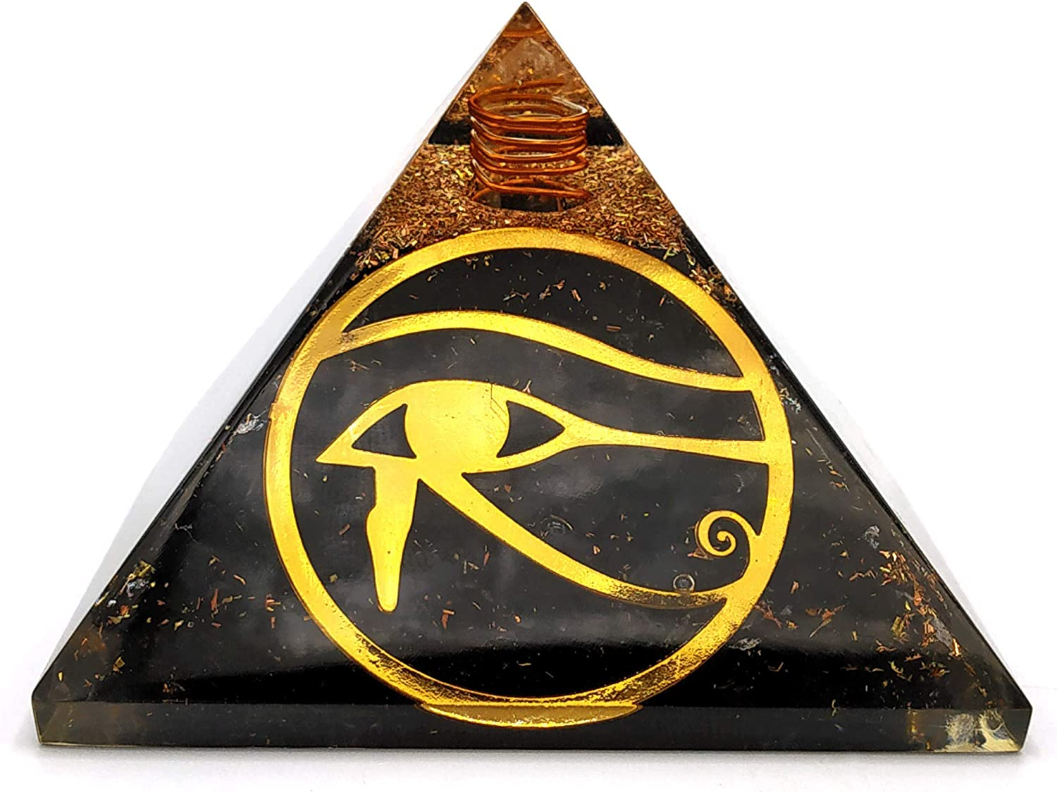 Shungite Orgonite Pyramid with Eye of Horus - Large Orgone Pyramid 75mm to Protect Against Negative Energy and EMF Protection