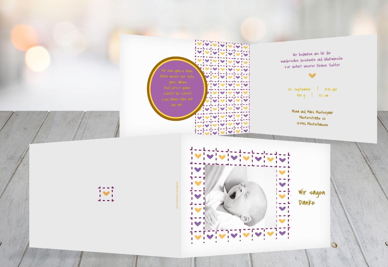Kartenparadies Danksagung für Geburt Baby Dankeskarte Herzrahmen, hochwertige Danksagungskarte Baby inklusive Umschläge   100 Karten - (Format  148x105 mm) Farbe  Lila B01N16WHO3 | Sale  | Hochwertige Materialien  | Kaufen