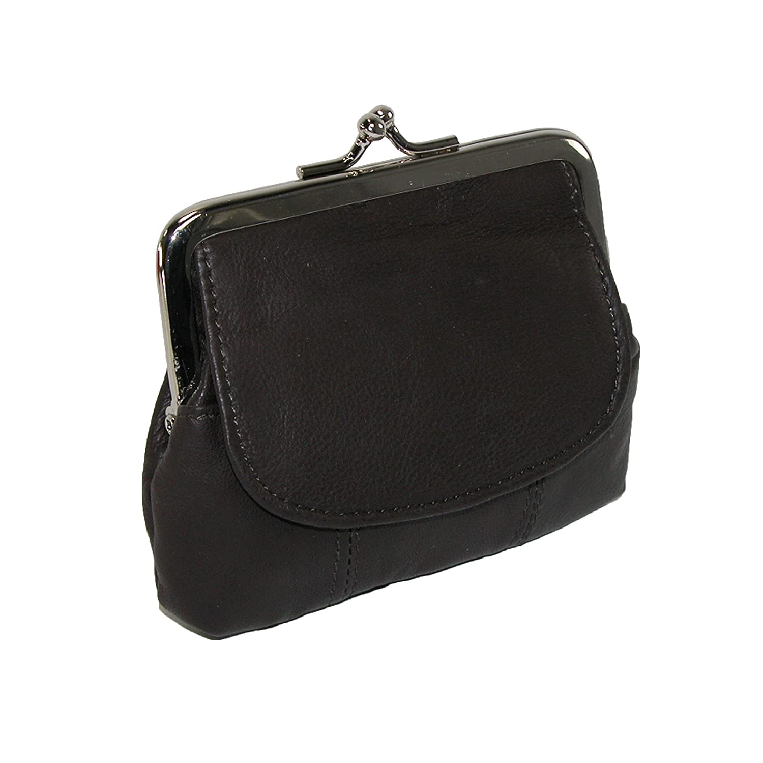 CTM® Leather Double Compartment Coin Purse Black RL-92806-BLK