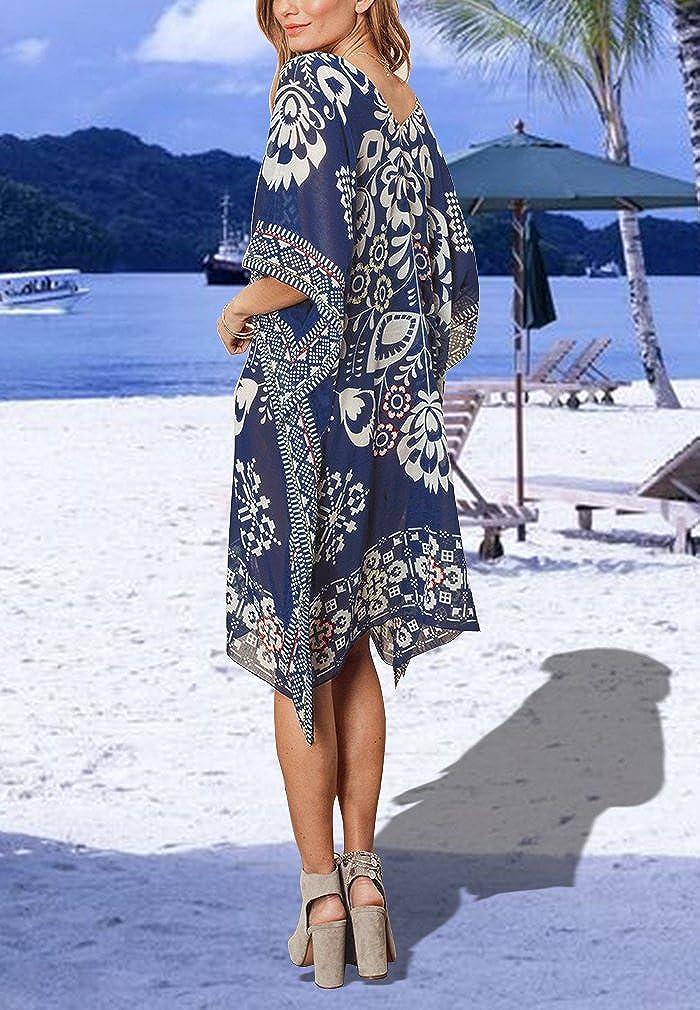Hikong Copricostume da Bagno Donna Scollato V Abito da Spiaggia Mare Pareo Tunica Beachwear Allentato