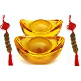 "Wenmily Feng Shui Yellow Crytal Golden Ingot / Yuan Bao 5 Pcs 1.3"" and  Prosperity Protection Set of 5 Lucky Charm Ancient Coins, Office Living Room Decoration Attract Wealth and Good Luck,Feng Shui Decor,"