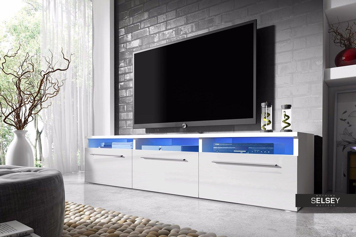 Lavello – TV Niedrigboard Fernsehschrank   TV Schrank mit LED in Blau (150 cm, Weiß Matt   Weiß Hochglanz)