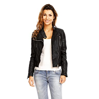 Mayaadi Trendige Kunst Lederjacke Damen Biker Jacke in schöner Leder Optik 3B069