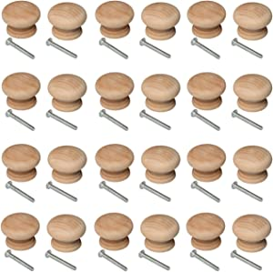 24 PCS Round Wooden Knob with Screws Unfinished Drawer Furniture Cabinet Closet Dresser Pull Handles (34mm Diameter,25mm Overall Height)