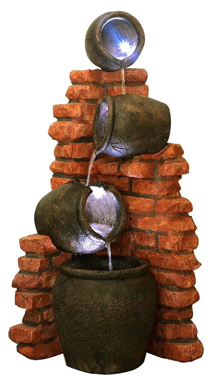 Regal 4-Tier Oil Jar Water Feature with Lights by Ambienté H119cm