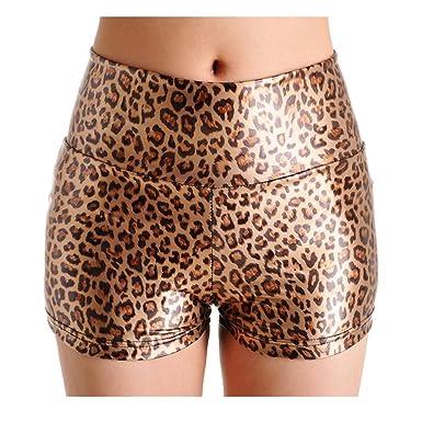 Short Simili Femme Amurleopard Mini Pantalons Courts Cuir En vNnOPw80ym