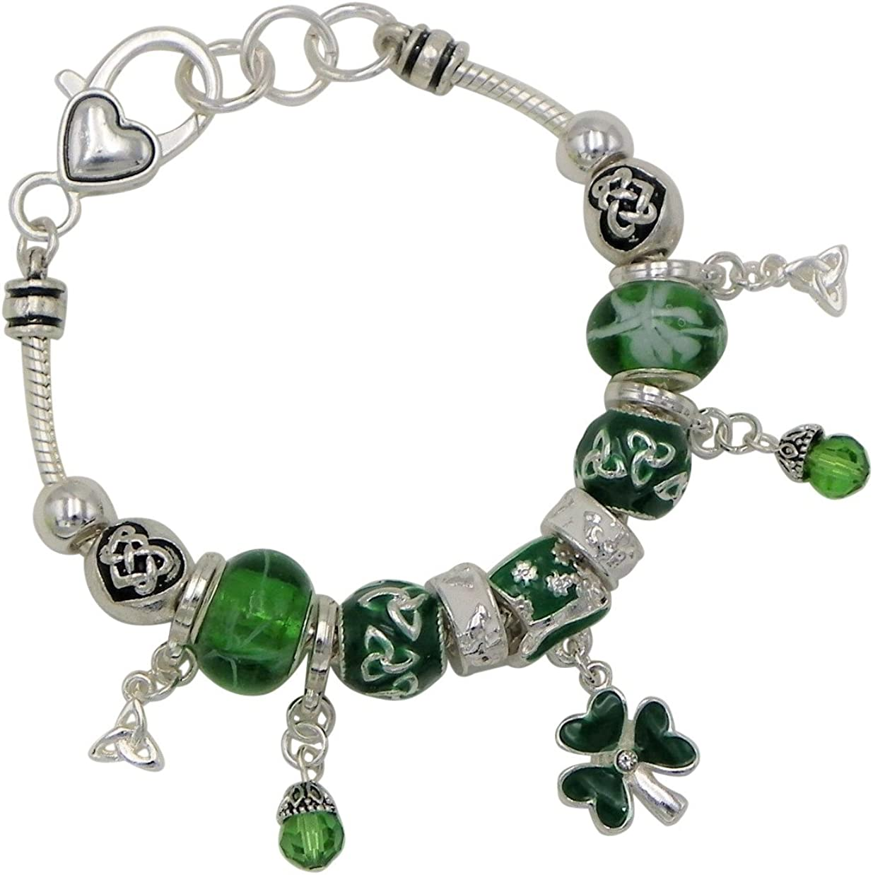 Celtic Bracelet Claddagh Irish Shamrock Green Murano Glass Bead Silver Tone