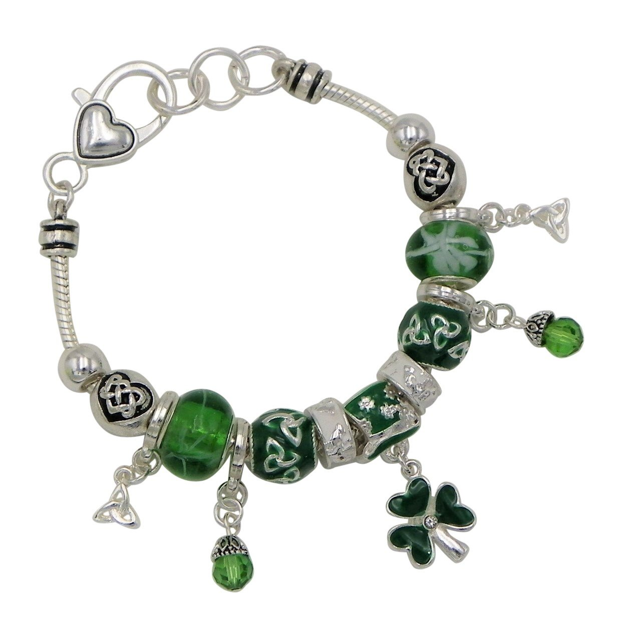 Rosemarie Collections Women's Beaded Charm Bracelet Leprechaun Hat Irish Shamrock (Silver Tone)