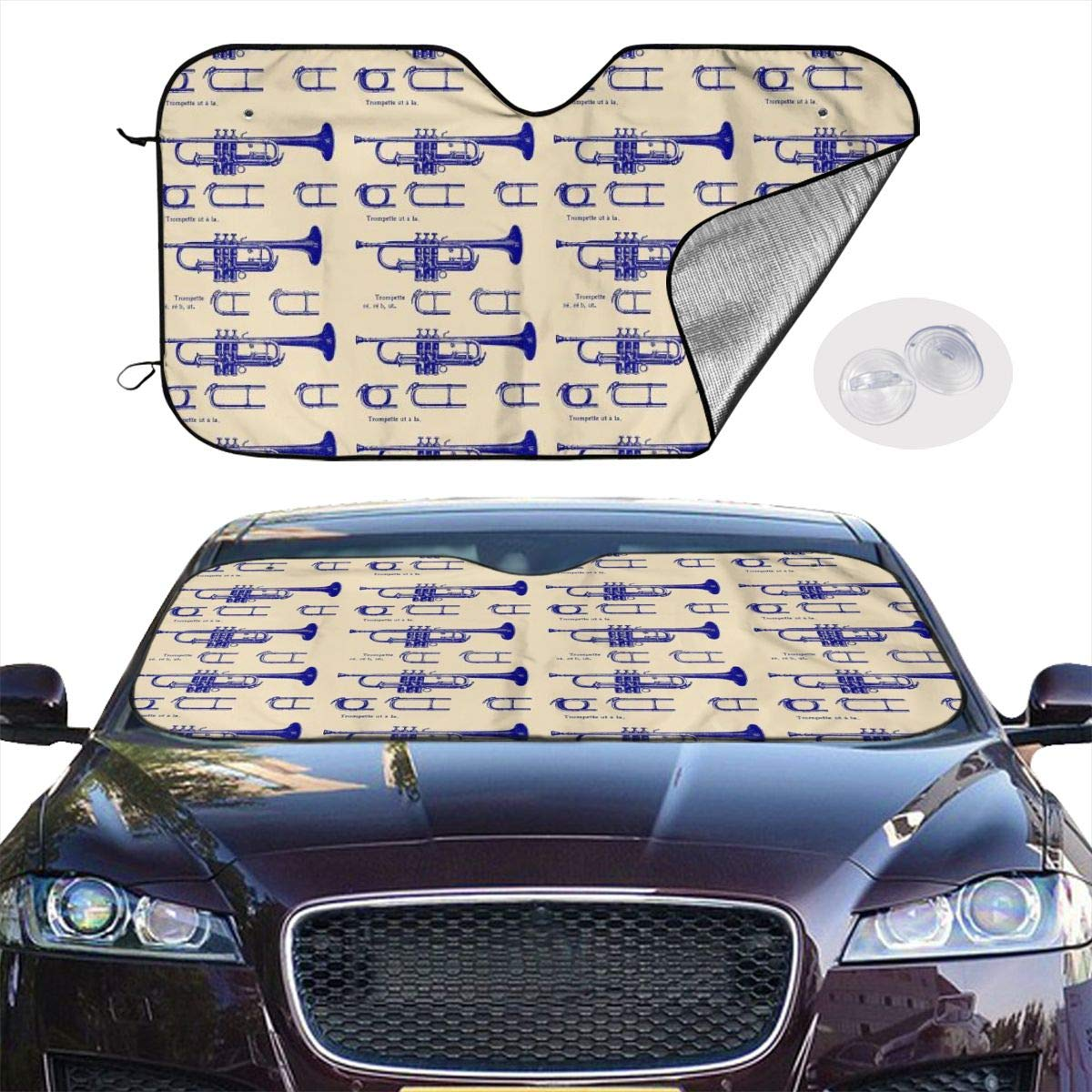 HE - Fashion Front Car Sunshade Windshield-Standard Sun Shade Keeps Vehicle Cool-UV Ray Protector Sunshade-Easy to Use Sun Shade - Instrument Trumpet (55 x 30 Inches) by HE - Fashion