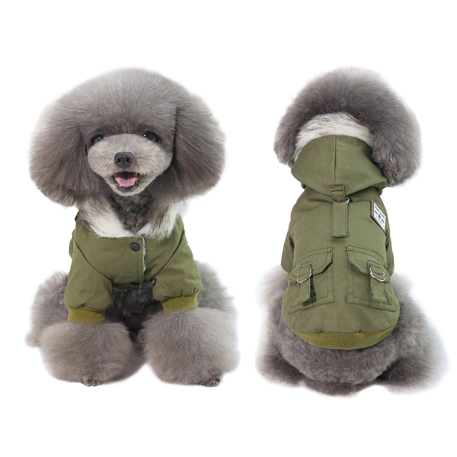 Green XXL Chest Girth 20.5\ Green XXL Chest Girth 20.5\ AprilWu Warm Dog Hooded Trench Coat Windproof Parka Jacket for Cold Weater (XXL, Green)