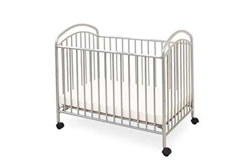 LA Baby Classic Arched Compact Size Metal Non-Folding Crib, Pewter