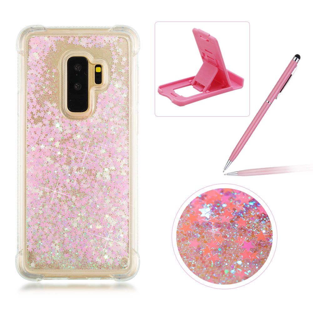 Liquid Case for Samsung Galaxy S9 Plus, Soft TPU Glitter Case for Samsung Galaxy S9 Plus, Herzzer Luxury 3D Sequins Creative Blue Love Hearts Design Floating Quicksand Sparkly Crystal Anti Scratch Drop Resistant Clear Rubber Back Case