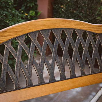 Magnificent Outdoor Garden Bench Wood And Metal Furniture Deck Seat 50 In Curved Crisscross Pattern Back Ideal For Backyard Porch Or Gazebo Gmtry Best Dining Table And Chair Ideas Images Gmtryco