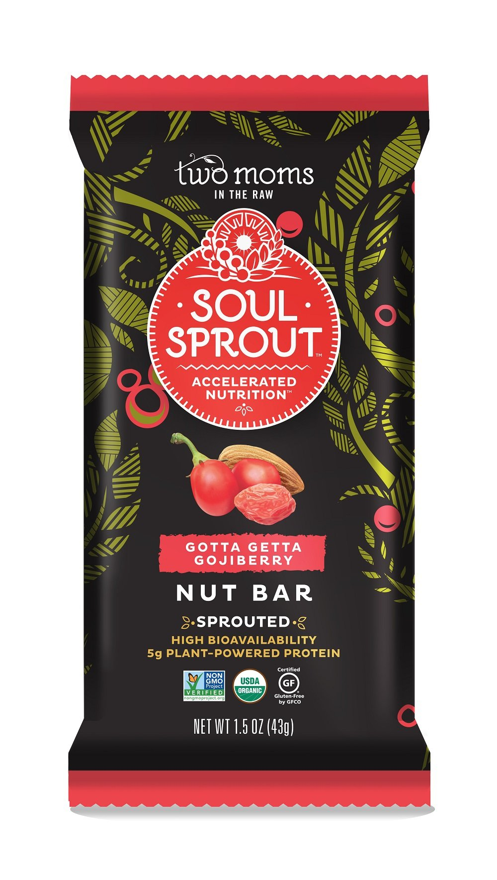 Soul Sprout by Two Moms Sprouted Nut Bar, Gotta Getta Gojiberry, 1.5 Ounce (12 Count)