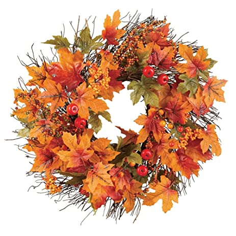 amazon com berry and autumn leaves twig wreath home kitchen