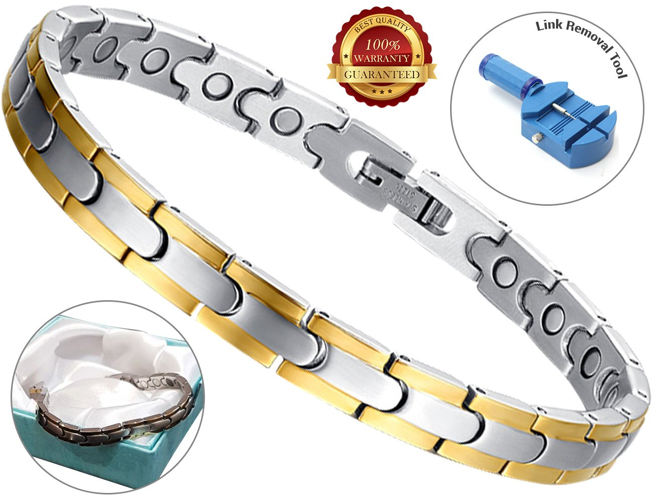 BisLinks® Magnetic Titanium Elegant Health Bracelet For Men & Women Carpal Tunnel Relief Arthritis Pain Therapy Healing Chronic Pain Negative Ion Energy (3000 Gauss Each Magnet) FREE LINK REMOVAL TOOL