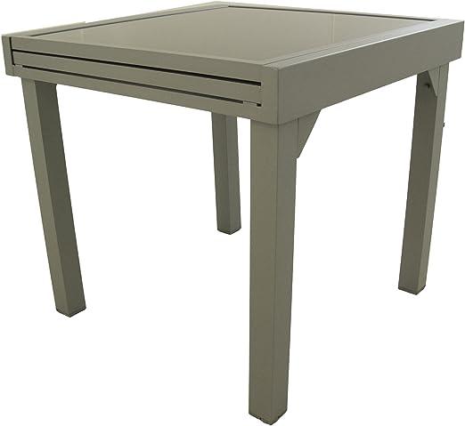 Edenjardi Mesa de Exterior Extensible de 80 cm a 160 cm, Aluminio Color Gris y Cristal Grueso Color taupé, Tamaño: 80x80/160x76 cm: Amazon.es: Jardín