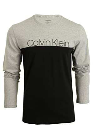 Calvin Klein Hombre Camiseta Longsleeved Graphic, Gris, Large