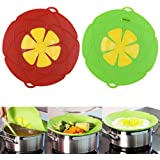 2 X Spill Stopper Lid Cover And Spill Stopper, Boil Over Safeguard,Silicone Spill Stopper Pot Pan Lid Multi-Function Kitchen Tool (Green And Red)