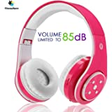 Kids Wireless Bluetooth Headphone with Microphone volume limited foldable Earphone Children Stereo On Ear headset for PC / TV / Tablets / Smartphones Pink