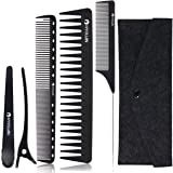 xnicx Black Carbon Professional Styling Comb Set Detangling comb Pin Tail Comb Cutting Comb with Clips