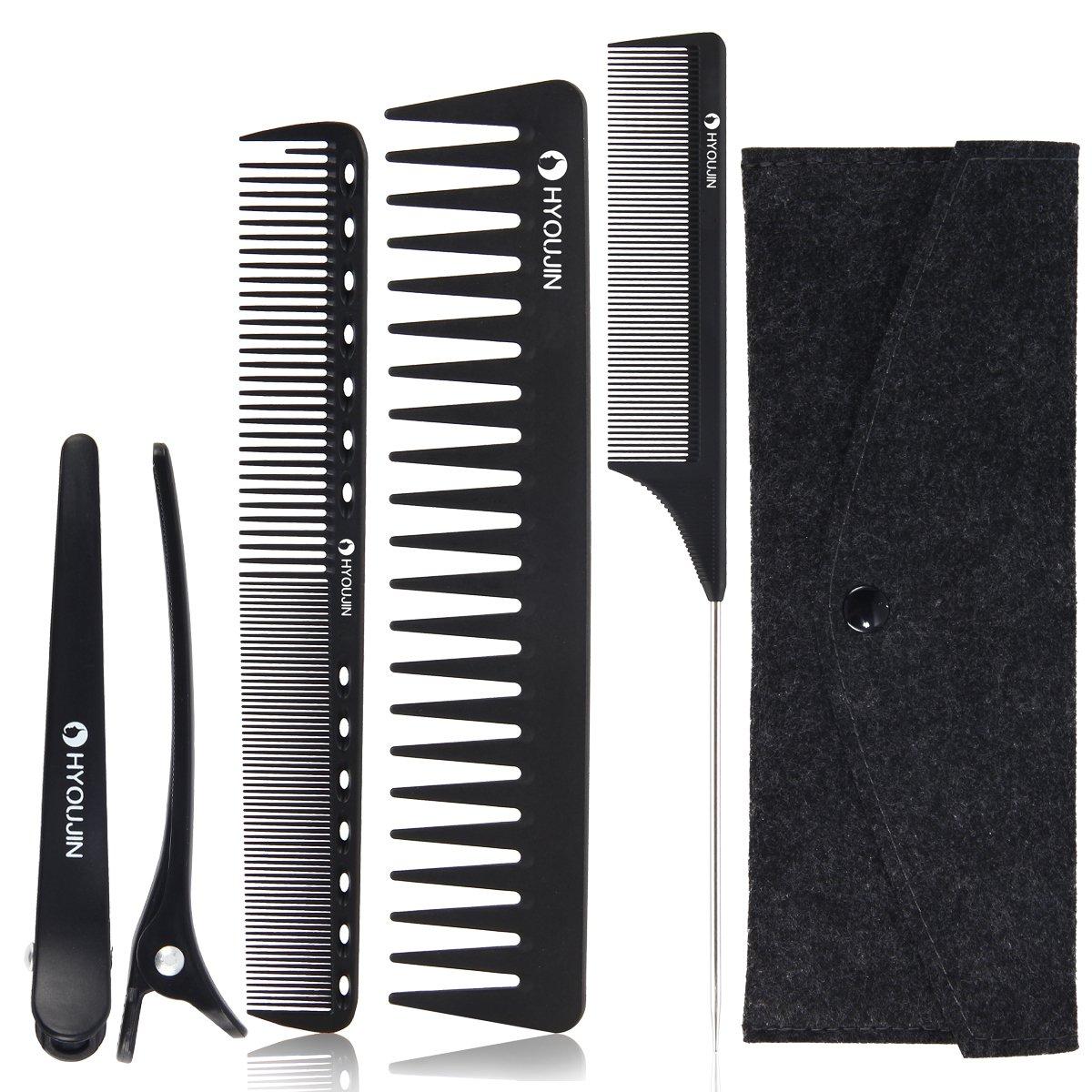 HYOUJIN Black Carbon Professional Styling Comb Set with Clips Hairdresser Barber Comb Set 5pcs