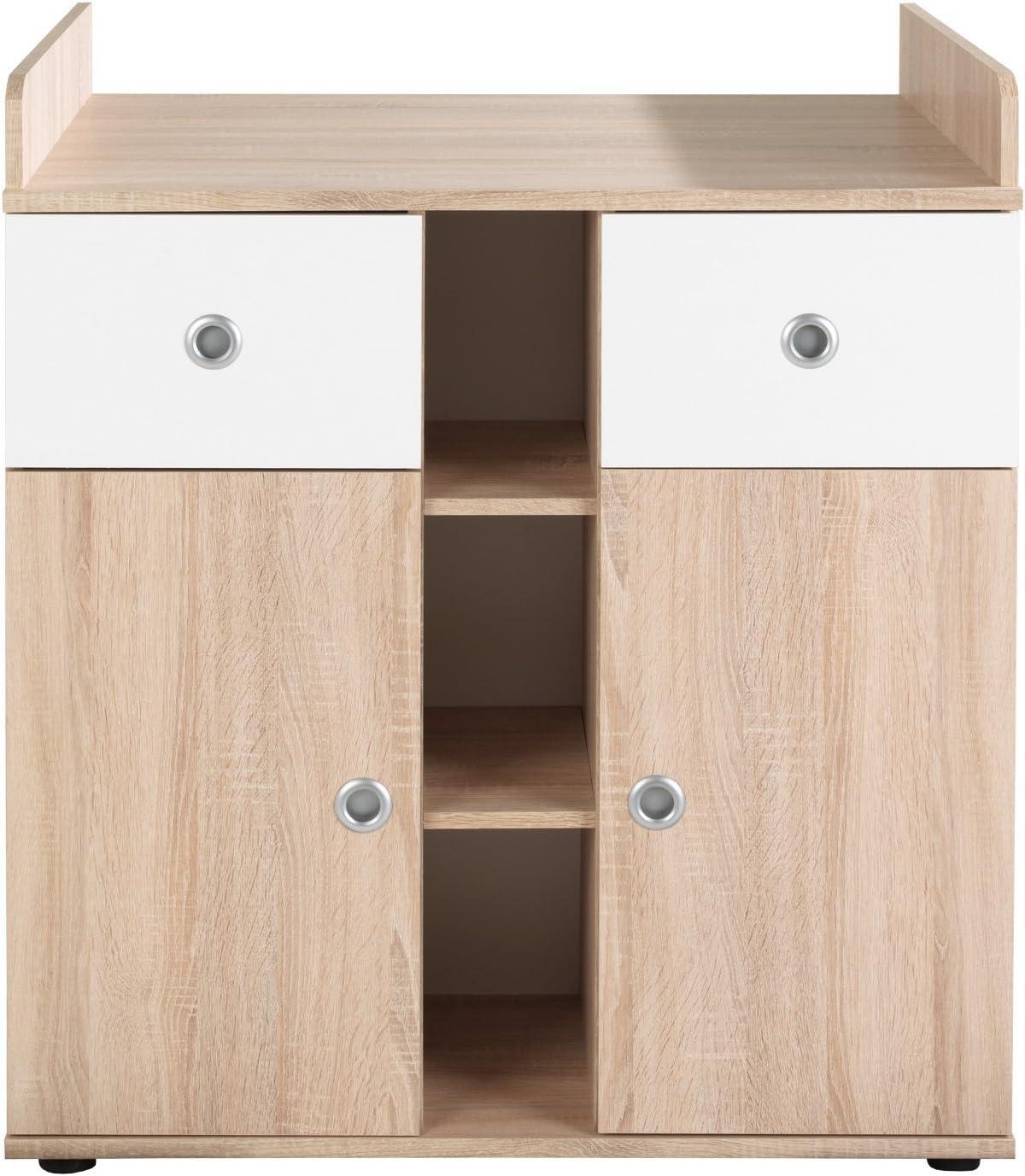 Habitación de bebé, juego completo Wiki 5 en roble sonoma/blanco, juego completo con armario grande con 3 puertas (de 1 puerta con espejo), cuna, ...