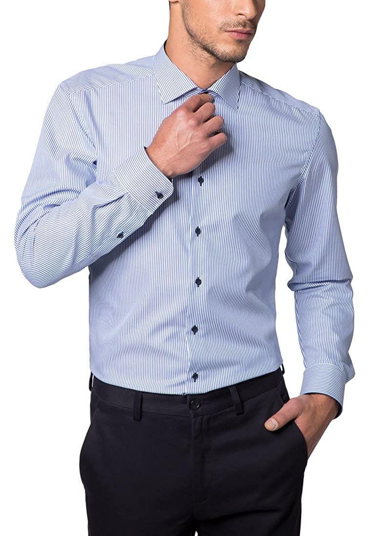 TALLA W39, Longitud manga larga. Eterna Long Sleeve Shirt Slim FIT Twill Striped