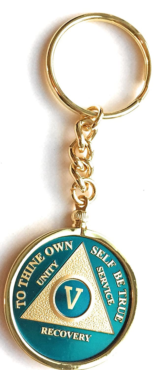 4614c1576b5 Amazon.com   5 Year Blue Gold Plated AA Medallion In Keychain Removable  Sobriety Chip Holder   Office Products