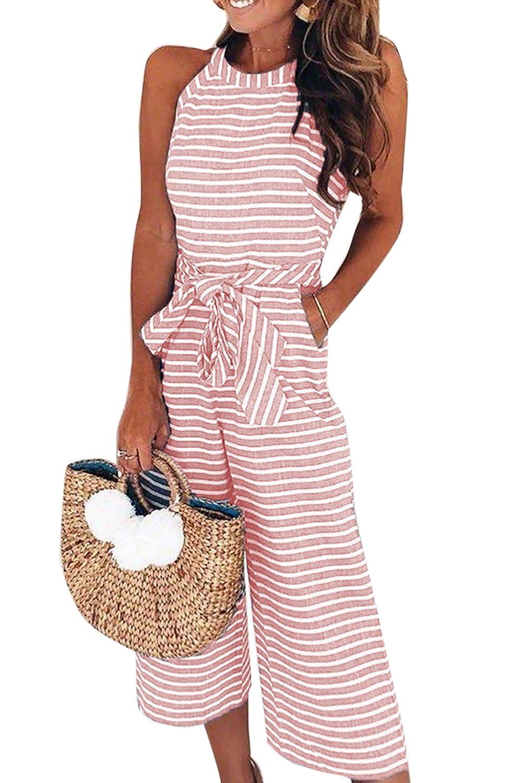 Mupoduvos Womens Beach Jumpsuit Summer Sleeveless Stripes Belted Palazzo Pants CANZ2597