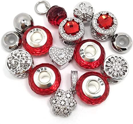 Black YIQIFLY 20pcs Micro-Set Big Hole Rhinestone Beads 100/% Real Platinum Plated Copper Charms Fit European Bracelet DIY
