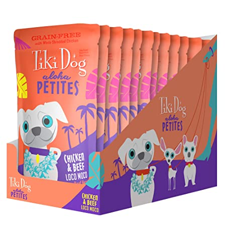 Tiki Dog Aloha Petites Gluten Grain Free Wet Food in a Pouch for Adult Dogs with Shredded Meat Superfoods