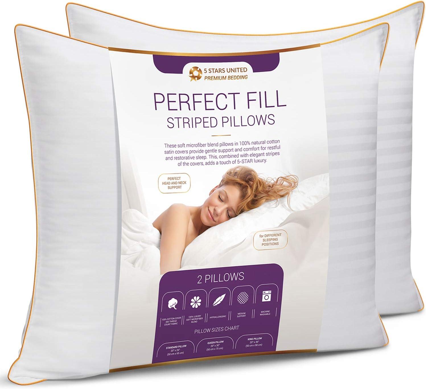 Super Soft Fiber Fill - Striped Satin Cotton Covers