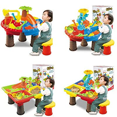 Sand and Water Table, Sand Water Play Table, Shovel Spade Watering Can Various Hand Tools, Kids Outdoor Beach Garden Sandpit Toys Set, Sandbox Toys for Toddlers, Children Educational Toy: Toys & Games
