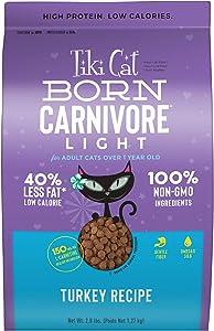 Tiki Cat Born Carnivore Grain Free Low Calorie Dry Food, Light Turkey, 2.8lbs.