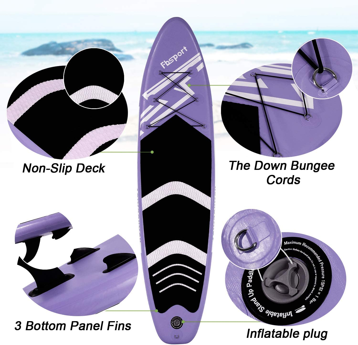 Wide Stance Non-Slip Deck Premium Inflatable Stand Up Paddle Board Standing Boat for Youth /& Adult with Durable SUP Accessories /& Carry Bag 6 inches Thick Surf Control Paddle and Pump Leash