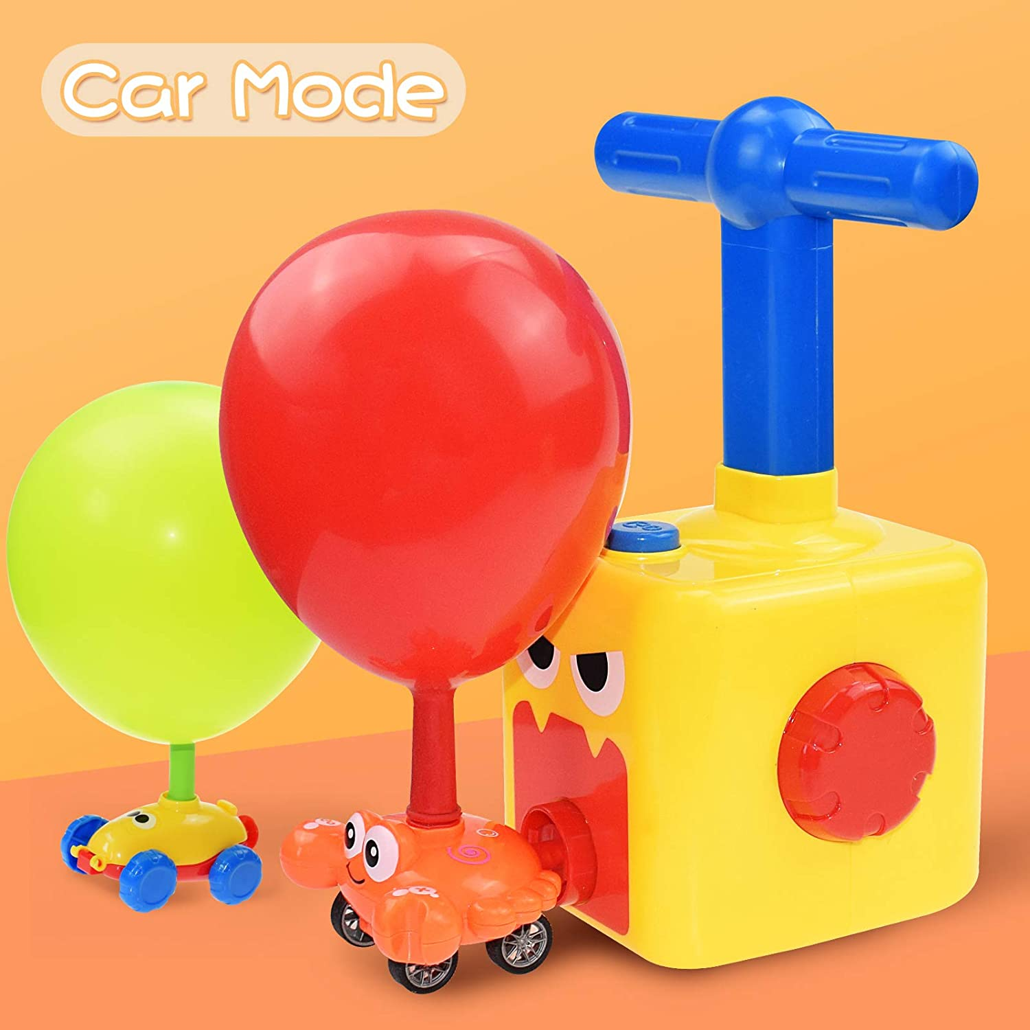 BAKAM Balloon Launcher Car Toy Set for Kids Inertial Power Balloon Racing Car Balloon Powered Racer Car STEM Toy for Toddlers Balloon Blaster Car Toy with Pump