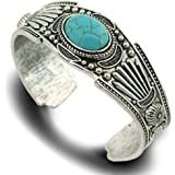 jianxi Women's Antique Rgentium Plated Base Heart Compressed Turquoise Bracelet Cuff Bangle Fashion Jewelry