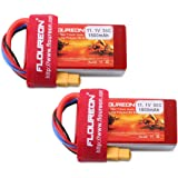 FLOUREON 11.1V 1500mAh 35C XT60 Plug Lipo 3S Rechargeable RC Battery for RC Truck Car Boat RC Evader UAV FPV Drones Heli Quadcopter DIY Hobby and More (2pack)