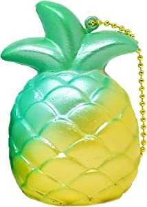 ibloom Cutie Pineapple Fruits Slow Rising Squishy Toy Keychain (Miracle Green, 3 Inch) Birthday Gift Boxes, Party Favors, Stress Balls, Prop Decoration, Pretend Play for Kids, Boys, Girls, Adults